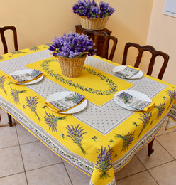 Lauris Yellow French Tablecloth 155x200cm 6 Seats Made in France