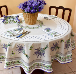 Lauris Ecru French Tablecloth Round 180cm COATED Made in France