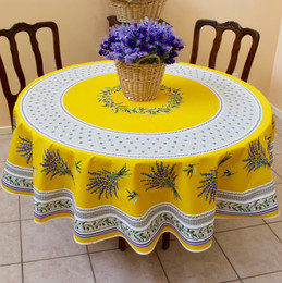 Lauris Yellow French Tablecloth Round 180cm COATED Made in France