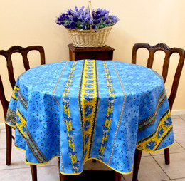 Marat Avignon Tradition Blue French Tablecloth Round 150cm diameter Made in France
