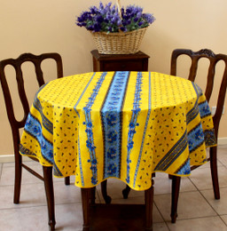 Marat Avignon Tradition Yellow French Tablecloth Round 150cm diameter Made in France