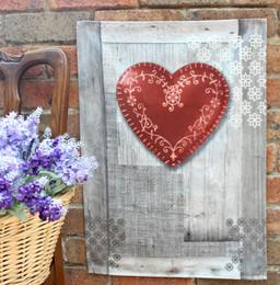 Coeur Red Tea Towel Made in France