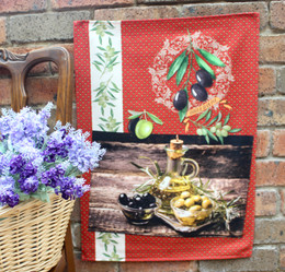 Olivade Red Tea Towel Made in France
