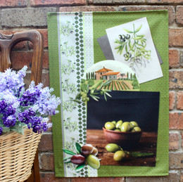 Olivade Green Tea Towel Made in France