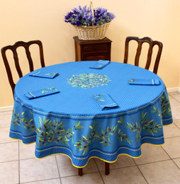 Nyons XXL Blue French Tablecloth Round 230cm COATED Made in France