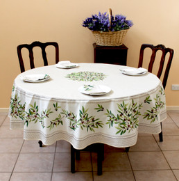 Nyons XXL Ecru French Tablecloth Round 230cm COATED Made in France