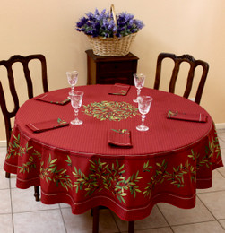 Nyons XXL Red French Tablecloth Round 230cm COATED Made in France