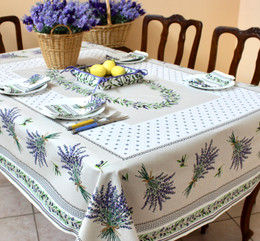 Lauris Ecru French Tablecloth 155x300cm 10Seats  Made in France
