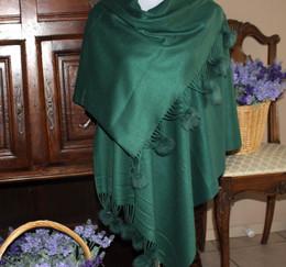 Pom-Pom Shawl Dark Green