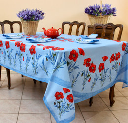 Poppy Light Blue French Tablecloth 155x250cm 8Seats Made in France