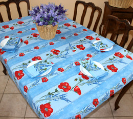 Poppy Light Blue 155x120cm 4-6seat Small Tablecloth COATED Made in France
