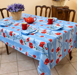 Poppy Light Blue French Tablecloth 155x300cm 10seats COATED Made in France