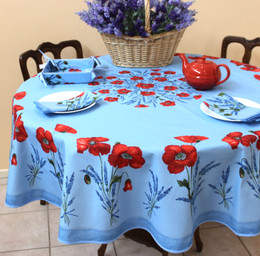 POPPY Light Blue French Tablecloth Round 180cm Made in France