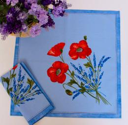 Poppy Light Blue French Serviette Napkin Made in France