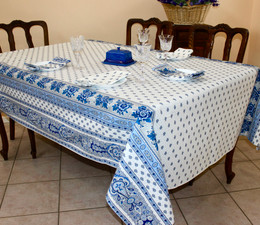 Marat Avignon Bastide White French Tablecloth 155x300cm 10Seats COATED Made in France
