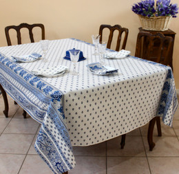 Marat Avignon Bastide White 155x350cm 12seats COATED French Tablecloth Made in France