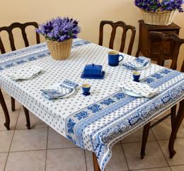Marat Avignon Bastide White 155x120cm 4-6Seats Small Tablecloth Made in France