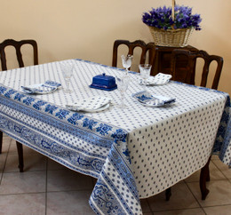 Marat Avignon Bastide WhiteFrench Tablecloth 155x250cm 8Seats Made in France