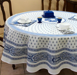 Marat Avignon Bastide White French Tablecloth Round 180cm COATED Made in France