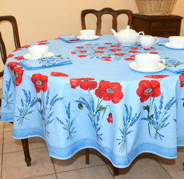 Poppy Light Blue XXL French Tablecloth Round 230cm Made in France