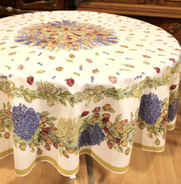 Lavender & Roses XXL French Tablecloth Round 230cm Made in France