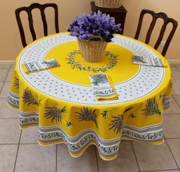 Lauris Yellow XXL Red French Tablecloth Round 230cm COATED Made in France