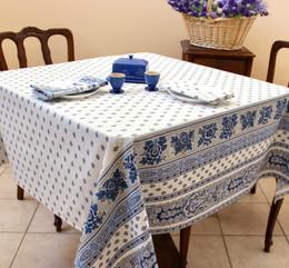Marat Avignon Bastide White Square French Tablecloth 150x150cm Made in France