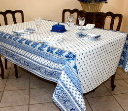Marat Avignon Bastide White French Tablecloth155x200cm 6Seats COATED Made in France