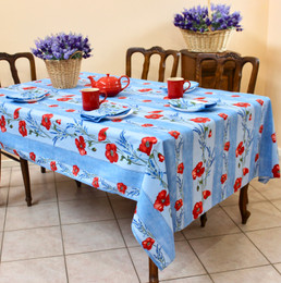 Poppy Light Blue French Tablecloth 155x200cm 6Seats COATED Made in France