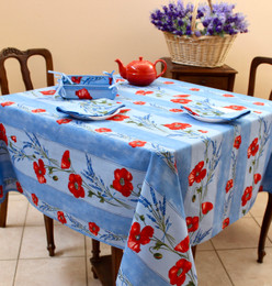 Poppy Light Blue Square Tablecloth 150x150cm COATED Made in France