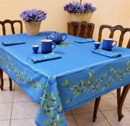 Nyons Blue French Tablecloth 155x250cm 8seats COATED Made in France
