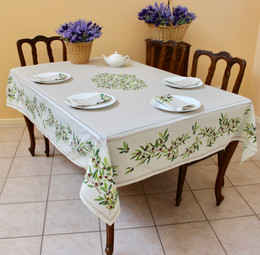 Nyons Ecru French Tablecloth 155x250cm 8seats COATED Made in France