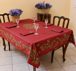 Nyons Red French Tablecloth 155x250cm 8seats COATED Made in France