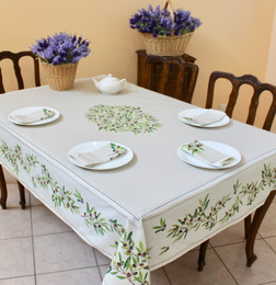 Nyons Ecru French Tablecloth 155x300cm 10Seats COATED Made in France