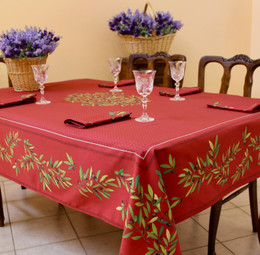Nyons Red French Tablecloth 155x300cm 10Seats COATED Made in France