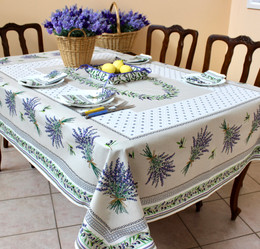 Lauris Ecru155x350cm 12seats COATED French Tablecloth Made in France