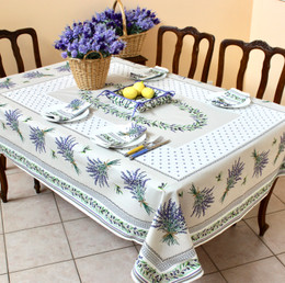 Lauris Ecru 155x350cm 12Seats French Tablecloth Made in France
