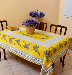 Lauris Yellow 155x350cm 12Seats French Tablecloth Made in France
