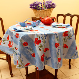 Poppy Light Blue French Tablecloth Round150cm diameter COATED Made in France