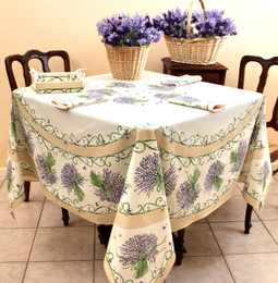 Lavender Ecru XXL Square French Tablecloth 180x180cm COATED Made in France
