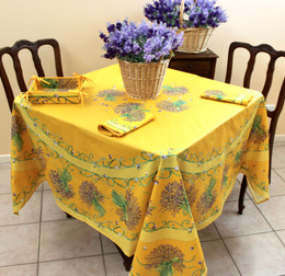 Lavender Yellow XXL Square French Tablecloth 180x180cm COATED Made in France