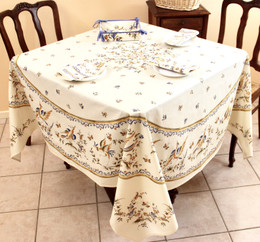 Moustiers Blue XXL Square French Tablecloth 180x180cm COATED Made in France