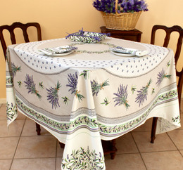 Lauris Ecru XXL Square French Tablecloth 180x180cm COATED Made in France