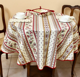 Marat Avignon Ecru French Tablecloth Round 150cm diameter Made in France