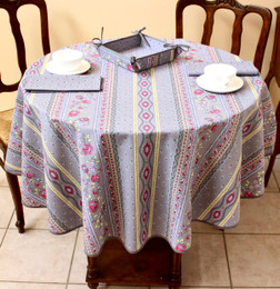 Marat Avignon Grey French Tablecloth Round 150cm diameter Made in France