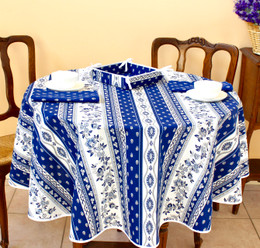 Marat Avignon Blue French Tablecloth Round 150cm diameter Made in France