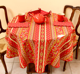 Marat Avignon Red French Tablecloth Round 150cm diameter Made in France