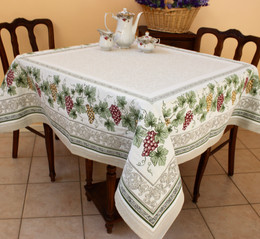 Vendanges Ecru 145 x 145cm Heave French Jacquard Tapestry Style Tablecloth/Throw