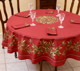Nyons Red French Tablecloth Round 180cm Made in France