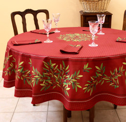 Nyons Red French Tablecloth Round 180cm COATED Made in France
